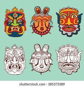 Set of Masks. Retro hand drawn.