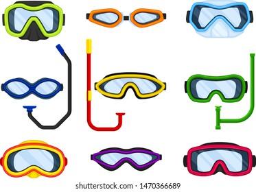 Set of masks for swimming. Vector illustration on white background.
