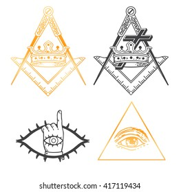 Set of Masonic Emblem God symbol: square and compass. Trendy alchemy element. Religion philosophy, spirituality, occultism. Design tattoo art. Isolated vector illustration.