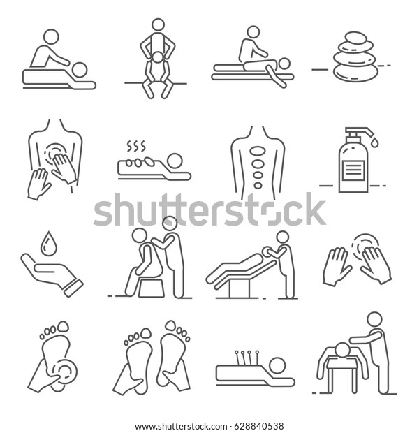 Set of massage Related Vector Line Icons. Includes such Icons as massage salon, massage therapist, therapy, health, treatment, Spa, relaxation