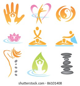 Set of massage , wellnes and spa icons. Vector illustration.