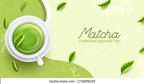 Set of matcha powder bowl wooden spoon and whisk green tea leaf Organic Green Matcha Tea ceremony. Vector illustration