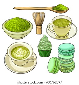 Set of matcha powder, wooden spoon and whisk, green tea and latter cup, cupcake, macaroni, sketch vector illustration isolated on white background. Realistic hand drawing of matcha green tea and food