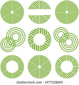 Set of Matcha tea icons. matcha stone mill grinder. green tea image.