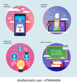 Set of material design concepts with icons for classroom networking, technical support, back to school, ideas about online market.UI/UX kit for web design,applications, mobile interface, print design.