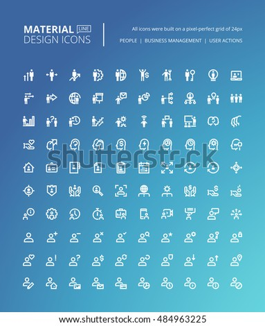 Set Material Design Line Icons Pixel Stock Vector (Royalty Free