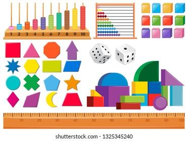 Set of math object illustration