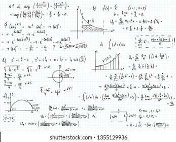 Set of mathematical formulas and solutions to problems and equations.  Homework of a student. Vector image of algebra and geometry tasks.