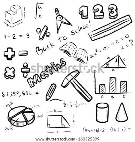 Set Mathematics Symbol Equipment Maths Subject Stock Vector Royalty