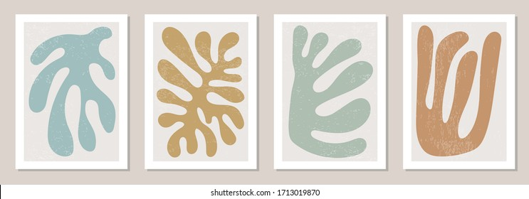 Set of Matisse inspired contemporary collage posters with textured abstract organic shapes in neutral colors, vector illustration