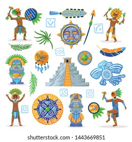 Set of maya civilization color images of tribal jewelry with characters of natives on blank background vector illustration