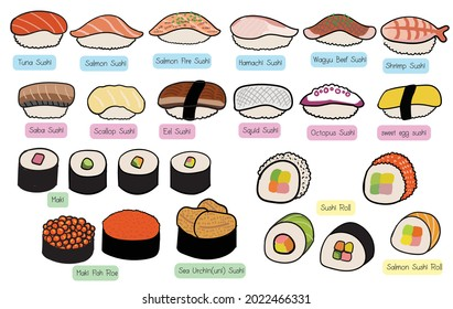 set meal. Japanese food. Rice ball or sushi. There are various pages such as salmon, hamachi, wagyu beef, shrimp, squid, eggs, fish, uni. Sushi Roll or Maki. It's a cute vector image.