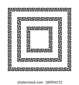 Set of meander borders. Ancient seamless square Greek key frames. Greek national antique meandros lines, vector. Rectangular pulse.