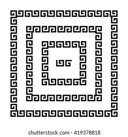 Set of meander borders. Ancient seamless square Greek key frames. Greek national antique meandros lines, vector. Rectangular pulse.