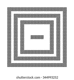 Set of meander borders. Ancient square Greek key frames. Greek national antique meandros lines, vector. Rectangular pulse.