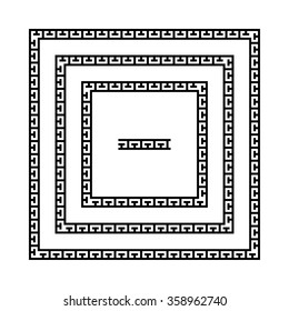 Set of meandering borders. Ancient square Greek key frames. Greek national antique meandros lines, vector. Rectangular pulse with seamless pattern inside