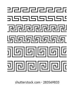 Set of meanders. Ancient seamless borders. Greek national antique meander lines, vector. Rectangular pulse