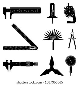 Set of measurement tool icons. Measuring instruments. Silhouette vector