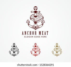 set of meat and anchor in retro style. Restaurant logo with meat and anchor. Hand-drawn illustration on a white background. four combination colors is dark red, gold, black and red.