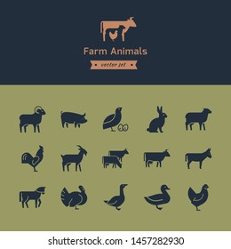 Set of meat animals icons with animals in profile. Vector collection made in retro style. Logos, badges and design elements.