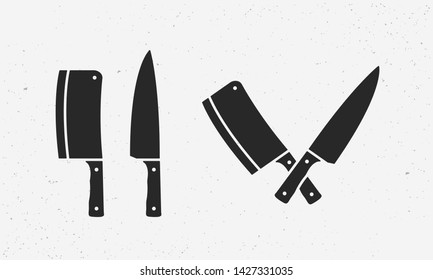 Set of meat cutting knives icons. Butcher supplies. Set of chef's and meat cleaver knives. Butcher's design elements for logo, poster, emblem. Vector Illustration