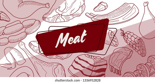 set of meat and meat products of different breeds of livestock and birds in the circle. The word meat on the die. Sticker. Doodle. Vector