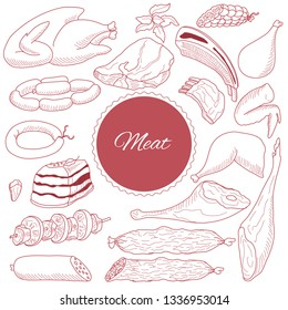set of meat and meat products of different breeds of livestock and birds. Doodle. Vector