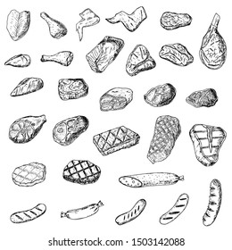 Set of meat and sausages. Raw and grilled food. Vector cartoon illustrations. Isolated objects on a white background. Hand-drawn style.