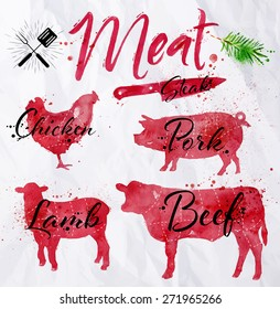 Set of meat symbols, beef, pork, chicken, lamb hand-drawing silhouettes of animals in red on crumpled paper in vintage style.
