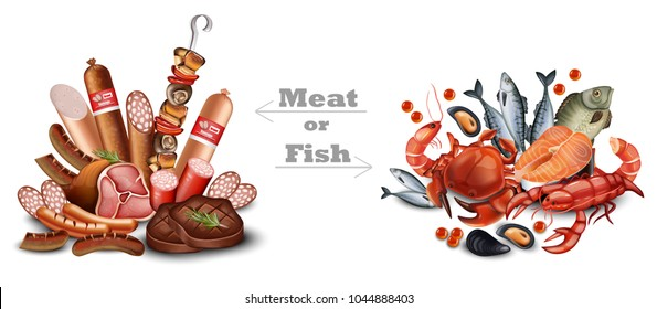 Set of meat vs seafood set Vector realistic detailed illustration. Meat or fish texts