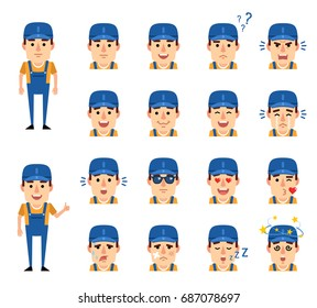 Set of mechanic character emoticons showing various facial expressions. Happy, sad, angry, surprised, dazed, in love and other emotions. Simple vector illustration