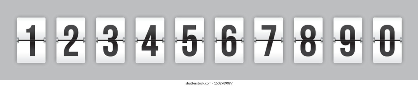 Set of mechanical flip countdown numbers on white background ready to use in your countdown counter, timer, scoreboard, clock design.