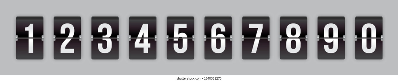 Set of mechanical flip countdown numbers on black background ready to use in your countdown counter, timer, scoreboard, clock design.