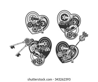 set mechanical heart in the style of steam punk with small moving parts on a white background