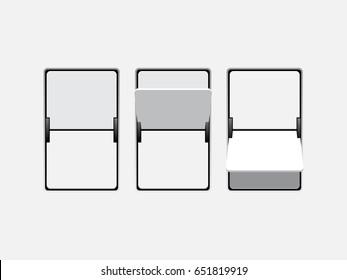 Set of mechanical scoreboard digits. Blank.