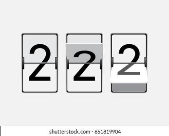 Set of mechanical scoreboard digits. Number 2. Black digit on white board.