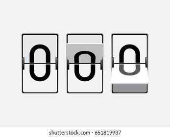 Set of mechanical scoreboard digits. Number 0. Black digit on white board.