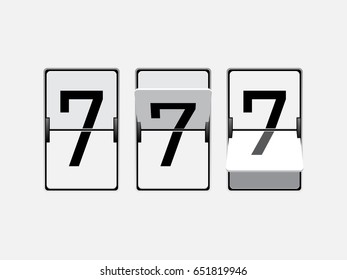 Set of mechanical scoreboard digits. Number 7. Black digit on white board.