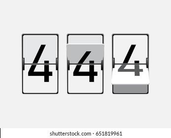 Set of mechanical scoreboard digits. Number 4. Black digit on white board.