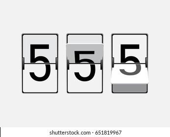 Set of mechanical scoreboard digits. Number 5. Black digit on white board.