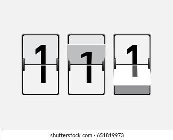Set of mechanical scoreboard digits. Number 1. Black digit on white board.