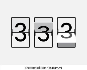 Set of mechanical scoreboard digits. Number 3. Black digit on white board.