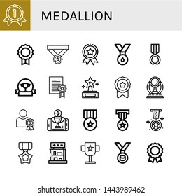 Set of medallion icons such as Gold medal, Medal, Award, Prize, Reward, Prizes , medallion