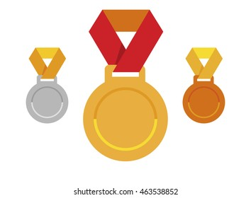 Set of medals icons; gold, silver, bronze. Sport award; victory emblem; vector winner illustration isolated on white