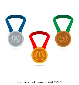 Set of medals with shadows. Sport award. Vector illustration