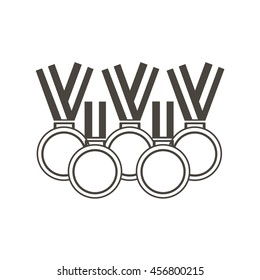 Set of medals for sports and activities. Medals laid out in the shape of the Olympic rings. Summer and winter sports games.