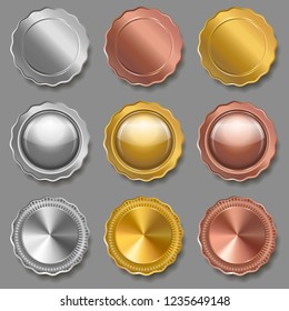 Set of medals of various shapes on gray background. Metallic badges. Gold, silver and bronze  awards. Medals template. Coins. Vector illustration.