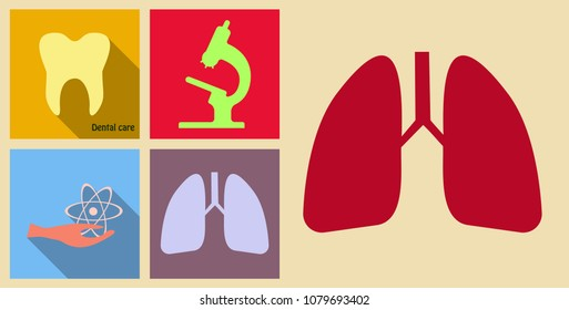 Set of medecine icons on sand background included tooth, lungs, hand with sign and Microscope