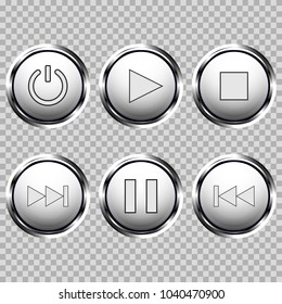 Set of media buttons. White round buttons with chrome frame. Vector 3d illustration.