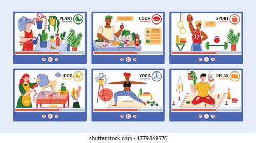 Set of media channels interfaces presenting content for people sport activity and entertainment at home, flat vector illustrations set isolated on white background.